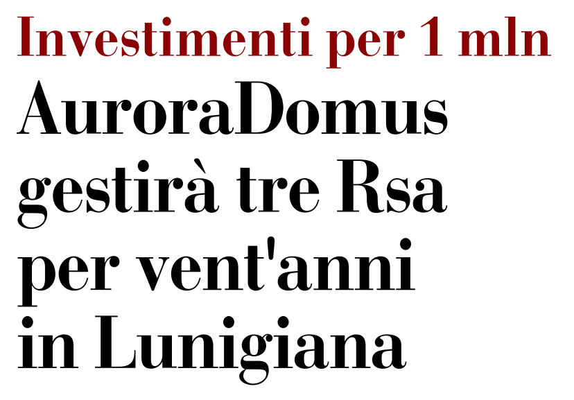 Auroradomus gestirà tre Rsa per vent'anni in Lunigiana