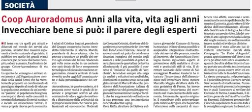 """""""Purché siano grigi solo i capelli"""" - Gazzetta di Parma, 25 marzo 2018"""