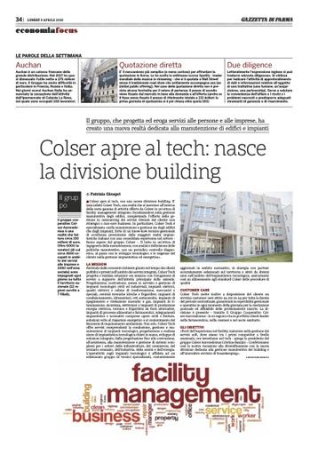 Nasce la nuova divisione building Colser Tech